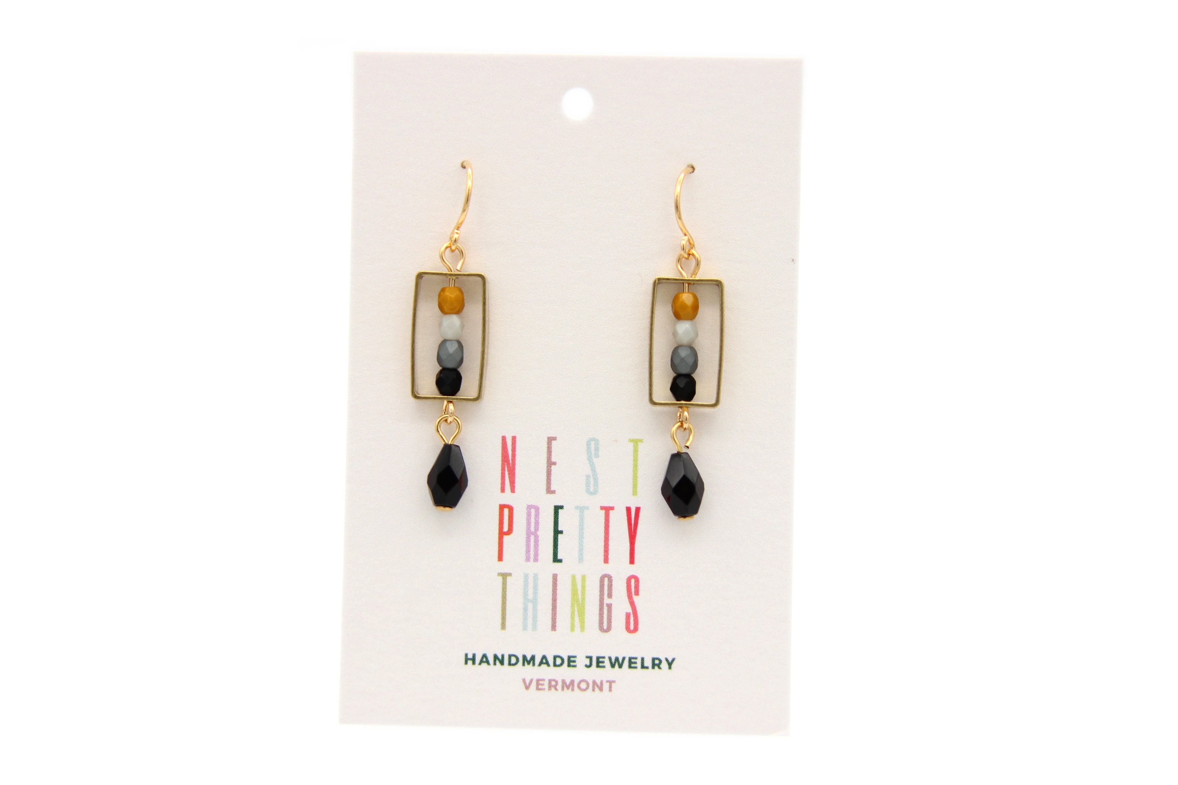 Little Box Earrings - Grey
